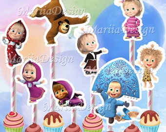 50%! SALE! Masha and the Bear Birthday Party Characters Printable - Cupcake toppers