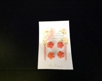 "Four Vintage Orange Swirl Buttons 5/8"""