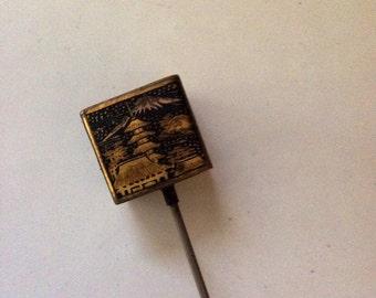 Vintage Hat Pin with Oriental Scenes