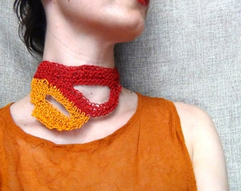 Paper yarn necklace, paper crochet, statement jewelry, orange red yarn, crochet necklace, abstract necklace