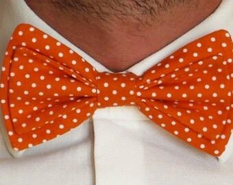 Papillon Men's pure cotton orange background with white polka dots