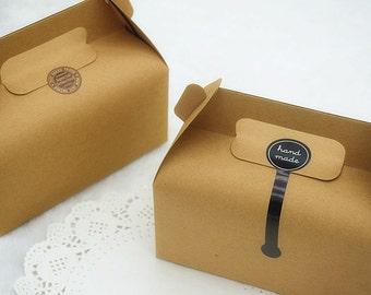100pcs 15.5 * 8 * 7CM / 13 * 8.5 * 9cm Kraft biscuit box cookie box portable / West Point box / snack box