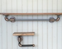Industrial Style Towel Bar and Toilet Paper Holder With Black Iron Pipe and Hardwood Shelf- Bathroom Fixtures