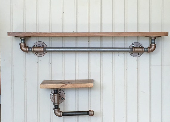Bathroom Towel Rack Toilet Paper Holder Industrial Shelves