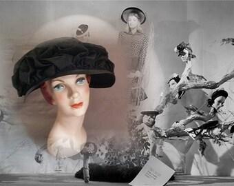 Glamorous Vintage Designer Black Hat by William, Joseph Magnin, Circa 1950s