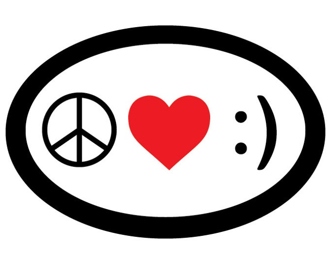 Peace Love & Happiness Oval Decal Vinyl or Magnet Bumper Sticker