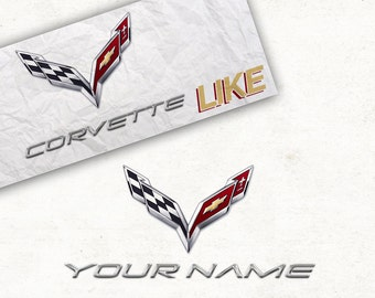 Personalized Corvette Poster - Logo Like