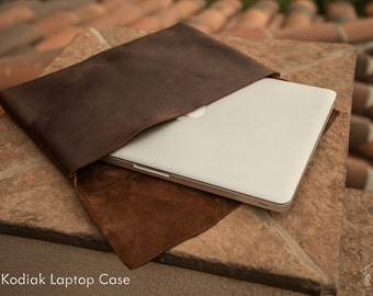 Leather Laptop Case   Kodiak Bear Leather   Handmade in the U.S.A.