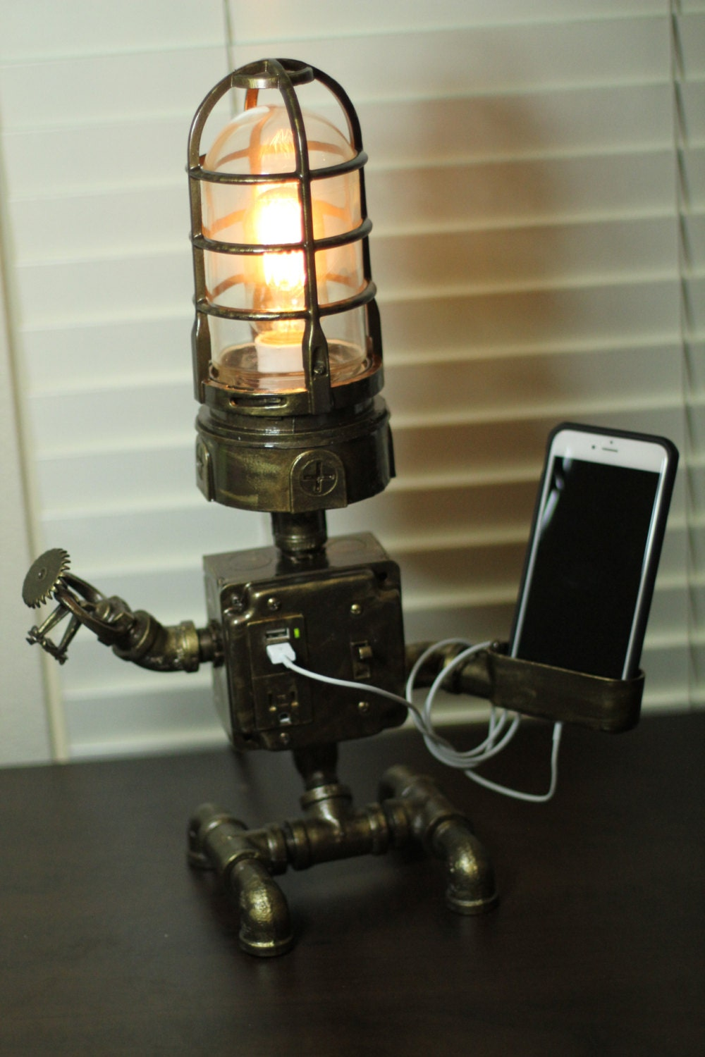 Steampunk Industrial Robot Lamp Usb Device Cradle By