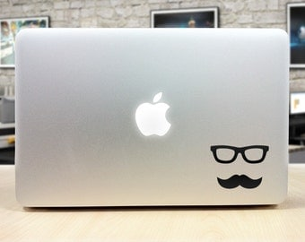 Glasses Mustache Decal for Macbook and Laptop
