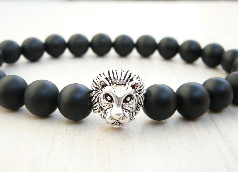 Mens Black Lion Bracelet, Mens Black Onyx Jewelry, Men's Jewelry, Gemstone  Bracelet,