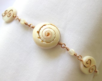 Mother of Pearl, Lisway Shell, Troca Shell Beads and Copper Bracelet \ Silver Seas Collection by The Celtic Elf