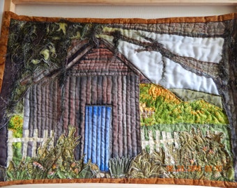The blue door quilted landscape wallhanging