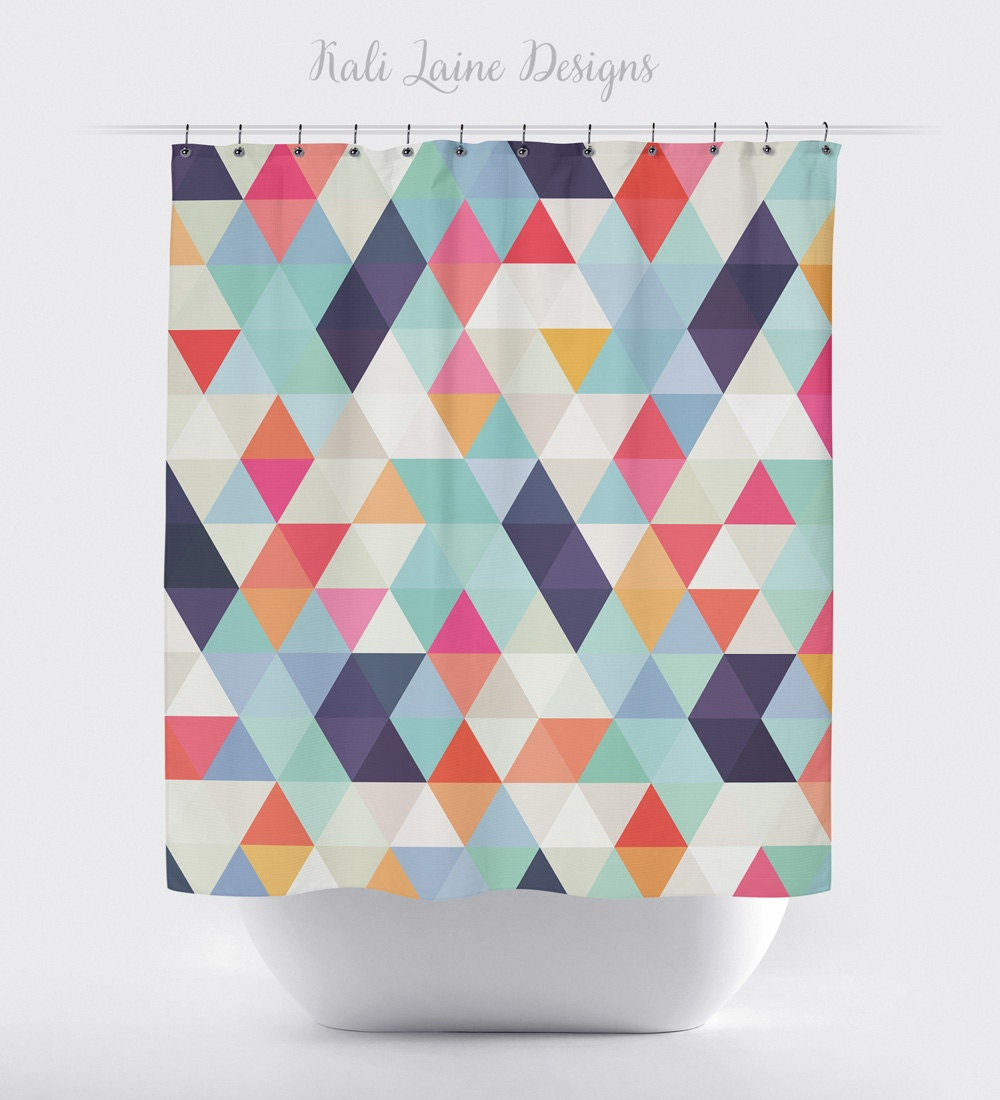 Shower curtain colorful geometric triangles by Colorful shower curtains