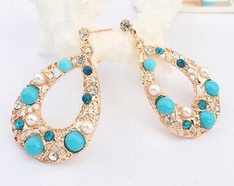 Gold earrings gold blue and pearl jewels drops Gold plated earrings, stud earrings, gold plated stud earrings, fashion earrings,