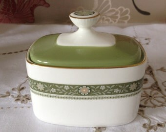 "Royal Doulton Vintage Covered Sugar Box in ""Rondelay"" Pattern - Fine Bone China - Made in England"