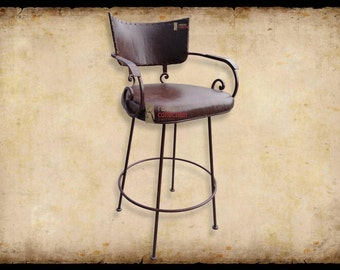 Chamizal Southwestern Wrought Iron Leather Swivel Bar Stool