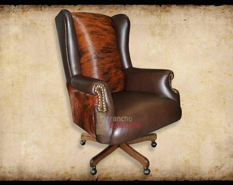 General Lee Leather Office Chair w/Cowhide