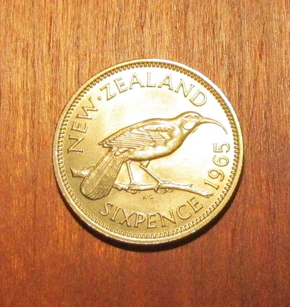 6 Pence Wedding Gift : New Zealand Wedding Sixpence, Huia bird 6 pence coin, lucky six pence ...