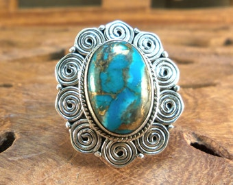 Sterling Ring Copper Blue Arizona Turquoise & Swirls Sterling Silver Ring, size 7