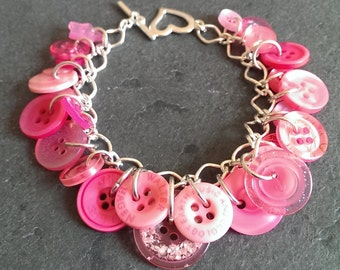 Button Bracelet Bright Pink Handmade in UK
