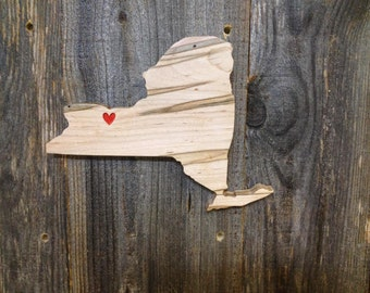 Wooden New York State Wall Hanging Sign With Carved Heart Over City of Your Choice