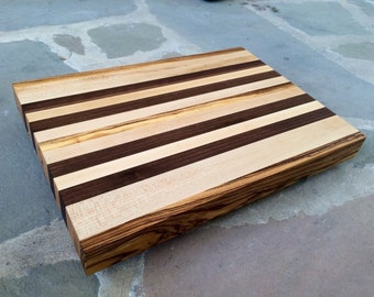 Edge Grain Cutting Board Made With Maple, Walnut, And Zebrawood  12x16x1.75