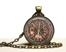 Viking jewelry Vegvisir Rune necklace Occult pendant