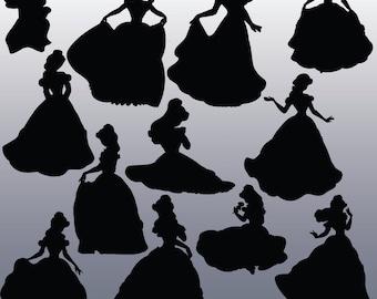 12 Belle Silhouette Images, Digital Clipart Images, Clipart Design Elements, Instant Download, Black Silhouette Clip art