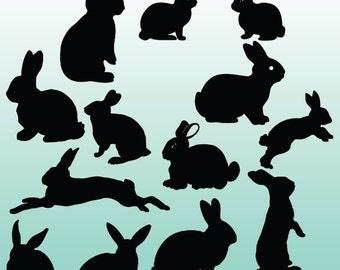12 Bunny Silhouette Digital Clipart Images, Clipart Design Elements, Instant Download, Black Silhouette Clip art