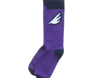 "Baltimore Ravens Fan Gift - Unique Purple Wing Men's Dress / Casual Socks - ""Wingman"" Christmas Holiday Stocking Stuffer"