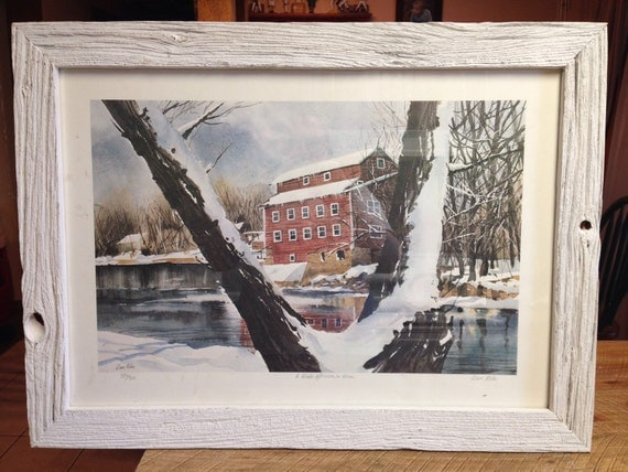 "Reclaimed Barn Wood ""Winter Afternoon"" Picture Frame"