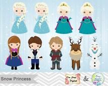 Digital Snow Princess Clip Art, Digital Frozen Clipart, Snow Princess Clip Art, Frozen Digital Clip art, 0177