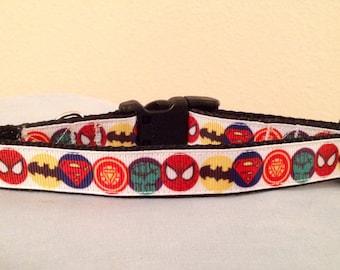 3/4 Wide Custom Made Adjustable New Superhero Grosgrain Pattern Dog Collar