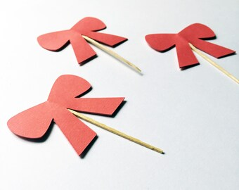 12 Pink Bow Cupcake Toppers
