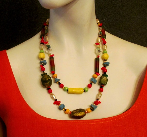 necklace, jewelry,colorful necklace, boho necklace, colours;gold, red, yellow,green, turquoise,black. ready to ship