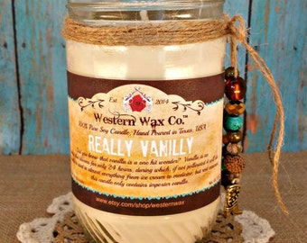 Vanilla Scented Candle:  12 oz Soy Candle in Upcycled Kitchen Jar, Really Vanilly