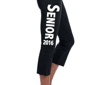 Customized Senior Class of 2016 Yoga Workout Lounge Pants Ladies' Cotton/Spandex Capri Pant