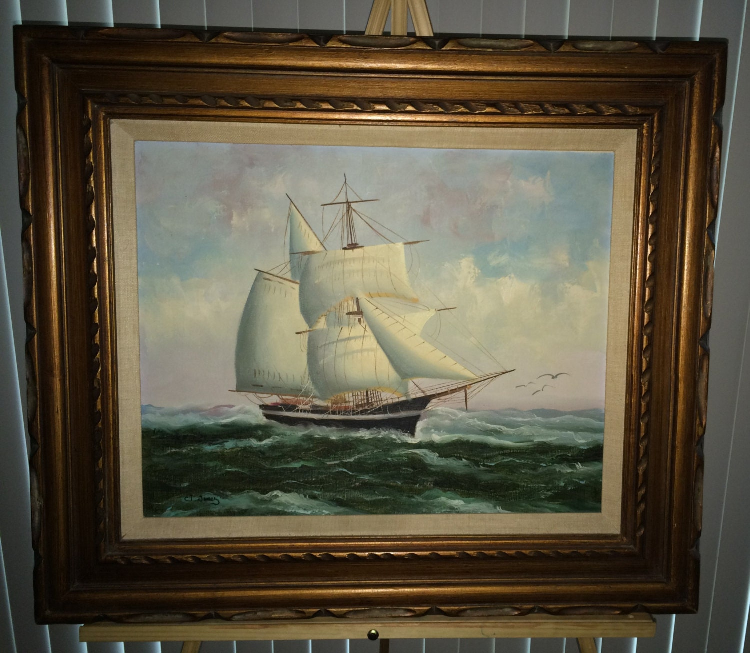 New Jersey Home Painting From J S Painting: Clipper Ship Oil On Canvas Original Painting Signed By J