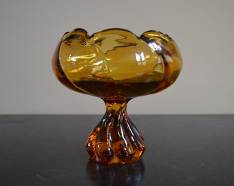 """Vintage Mid Century amber glass pedestal inverted rose bowl with twisted base (6"""")"""