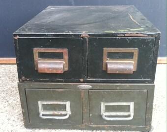 Vintage Metal Industrial Storage Drawers Set of 2