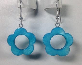 Blue Shell Flower Earrings -SE018