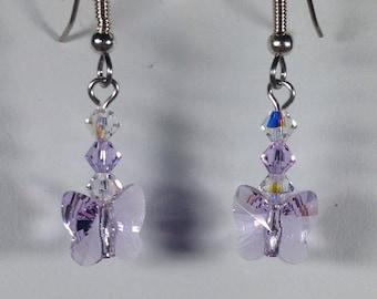 Swarovski Crystal Violet Butterfly Earrings -SCD032