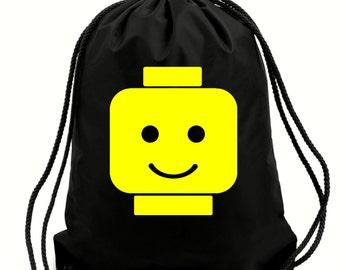 Happy Lego head gym bag,pe bag,school bag,water resistant drawstring bag.