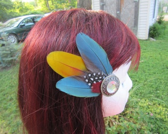 Feather hair clip, hair accessories, feather fascinator, hair clip, hair clip hair fascinator, crystal hair clip, rainbow hair clip Renee