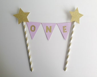 1st Birthday Bunting Cake Topper lilac and gold glitter