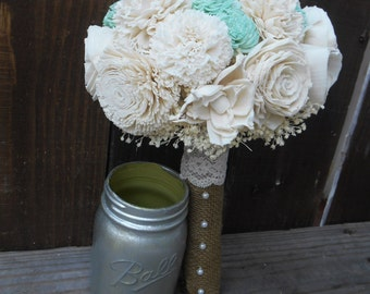 Mint Bridal Bouquet, Wedding Bouquet, Keepsake Bouquet, Bridesmaid Bouquet, Rustic Wedding