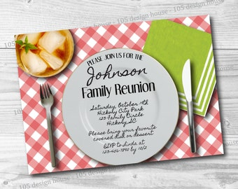 Family Reunion Invitation Printable - Family Reunion Picnic -  Family Reunion Invite - Picnic Invitation - Customizable for any party