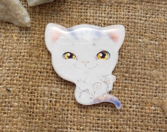 Free shipping, Kitten brooch, brooch pin, animal brooch, animal jewelry, cat jewelry, clay cat, clay pin present gift