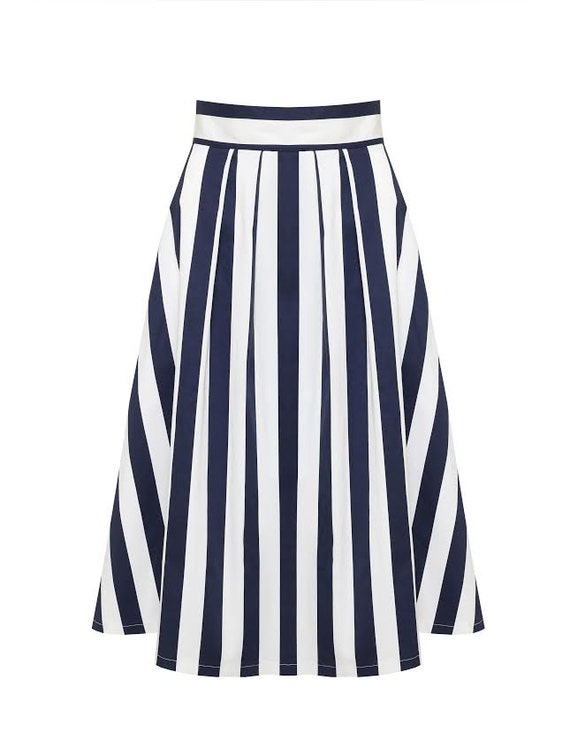 blue and white striped skirt pleated midi skirt by